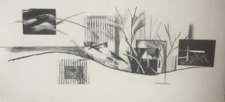 etching, collograph, woodcut, drawing on German etch paper